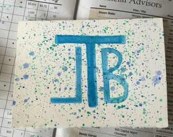 Watercolor Monogrammed Cards