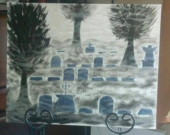 "KimberlyCArt - 16"" x 20"" Painting - ""Graveyard"""
