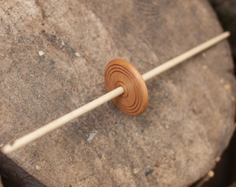 Akha Spindle | Drop Spindle | Mid Whorl | Light Weight Spindle | Sycamore & Cherry