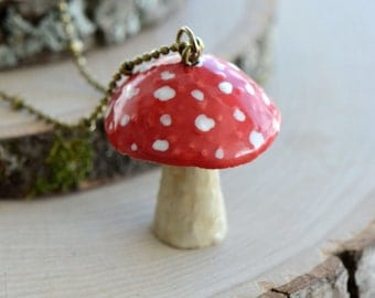 Hand Painted Red Toadstool Mushroom Necklace, Antique Bronze Chain, Vintage Style Fairy Toad Stool, Ceramic Animal Pendant & Chain (CA214)