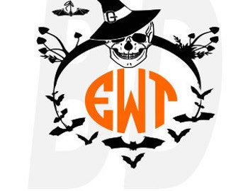 Skull Halloween Monogram SVG, eps, dxf, cricut air, silhouette, cameo, scan and cut, cutting files, vinyl cut file, instant download