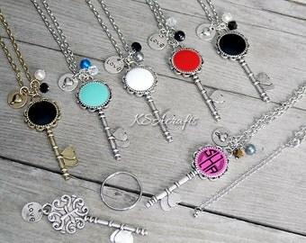 Monogrammed Necklace, Monogrammed Skeleton Key Necklace, Necklace