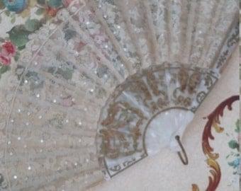 Exquisite vintage antique  lace and sequin decorative fretwork 1920's fan