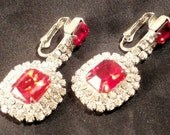 New Old Stock Vintage Clear/Red Rhinestone Dangly Clip Earrings RS1085 NOS Swarovski