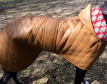 Greyhound Coat, quilted sheep leather...organic cotton lining! Sighthound coat. Dog Jacket. Whippet Coat. Leather Jacket. Leather Coat.