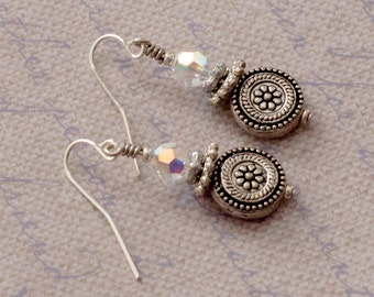 Antique silver disk dangle earrings