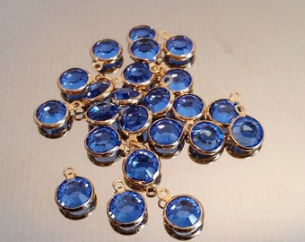 Blue Swarovski Crystal Charm Drops Dangles Capri Blue, Crystal Charms, Blue Pendants