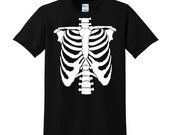 Halloween SKELETON CHEST Tshirt Trick or Treat Fancy Dress Ribcage Scary Costume