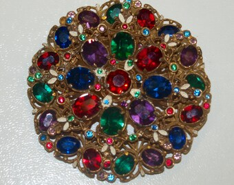 Large Colourful Czech Brooch Jewel Tones