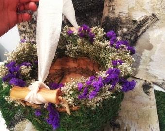 Wedding Flower girl basket, moss wrapped basket