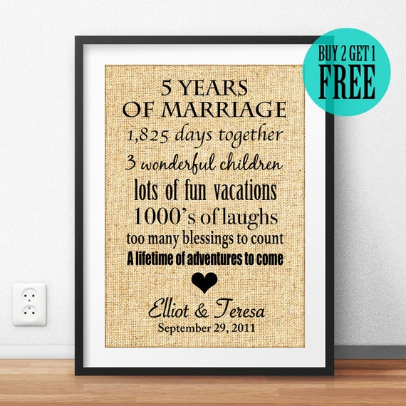 Anniversary Gift Wedding Anniversary Gift 5th Wedding 5