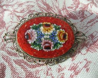 Vintage Italian Micro Mosaic Flower Brooch