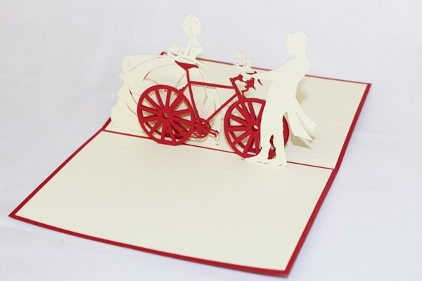 3D Couple On Bicycle Pop Up Card, Pop Up Greeting Card,