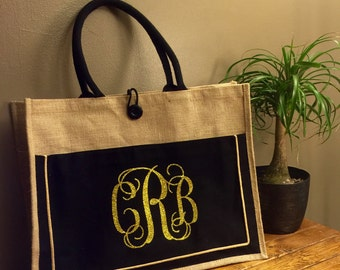 Jute Market Tote with Cotton Front Pocket