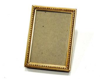 VINTAGE: Small Gold Metal Picture Frame - Standing Frame - Filigree Frame - SKU 25-A-00005820