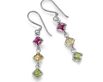 Sterling Silver With Zircon Stones Earrings Small Star Light