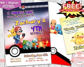Pokemon Invitation,  Birthday Invitation, Birthday Invitation Cards, Pokemon Printable,  Birthday party, psd,  invitation