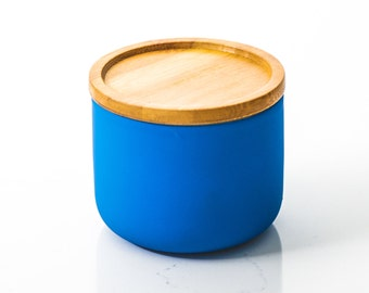 Blue Ceramic Candle with Wooden Lid
