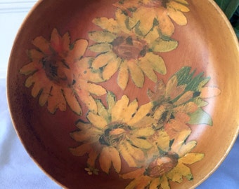 Retro wooden decapouge bowl with sunflowers