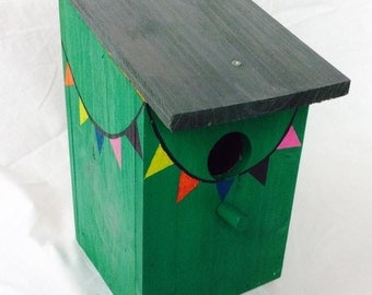 Hand painted green bunting birdhouse