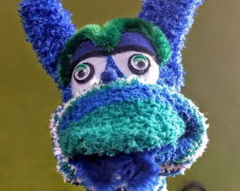 Blue and Green Sock Monster Puppet