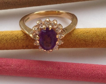 Handmade Gold Ring with Diamonds and Ruby