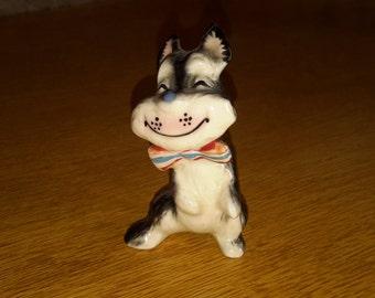 Vintage Black and White Terrier Dog Figurine