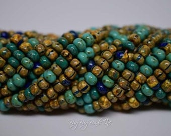 4/0, Aged Green Turquoise Jade Striped Picasso Mix, Round, Aged Czech Glass Seed Beads, 20inch Strand (Approx 190-200 Beads)