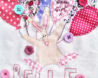 New Baby Girl Card, New Baby Card, Baby Girl Card, Personalised New Baby Card, Hand Stitched Card