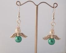 Handmade Green Liver Cancer Awareness Gaurdian Angel Earrings