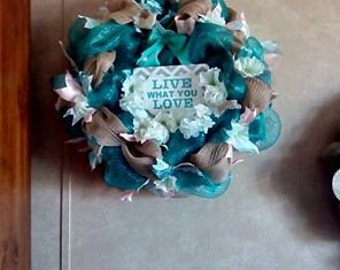 Turquoise and Burlap Ribbon Mesh Wreath