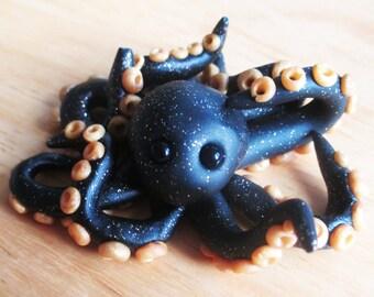Black Sparklepus - Polymer Clay Sculpture