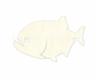 2 34 fish piranha wooden cutout shape silhouette gift tags ornaments