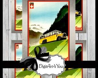 Greeting Card/Cards/Switzerland/Lausanne/Ouchy/Alpine/Swiss Alps/Europe/Gorgeous/Travel/Tourist/Vintage Scene/Retro/DIY Card/Vintage Collage