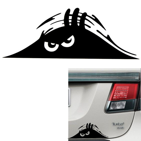 Funny car trunk creeper peeking out vinyl decal for Getting stickers off glass