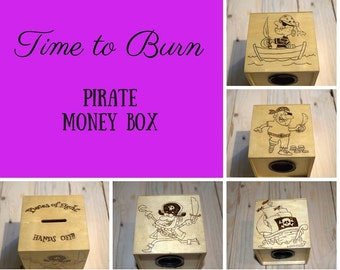 Wooden Pirate money box