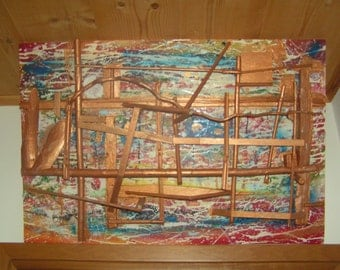 Abstract painting acrylic on canvas with wooden grafts