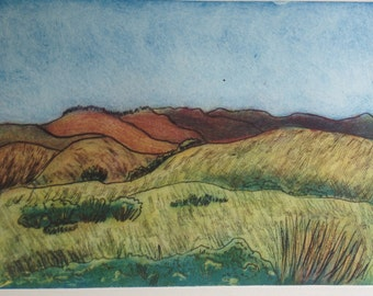Print Golden Hills of California  Point Reyes Hand Pulled Art Print Limited Edition