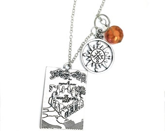 "Harry Potter Marauder's Map Inspired Orange Beaded Charm 20"" Chain Necklace Silver Tone"