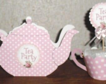 Tea Party Teapot & Teacup Cupcake Wrappers ~ Party Favor ~ 1 Dozen