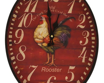 Colourful Rooster Large 40cm Wooden Oval Wall Clock