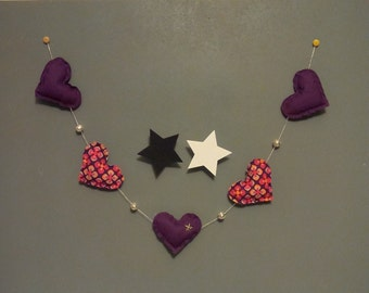 Garland fabric hearts and its pearls