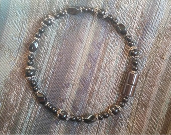 Hematite Anklet, Healing Jewelry, Pain Relief, Hematite Jewelry, Magnetic Clasp, Healing Anklet, Good Health Jewelry, Natural Remedy, Beads