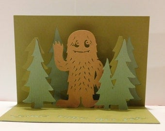 Long time no see Sasquatch greeting card, 3D, pop up card,
