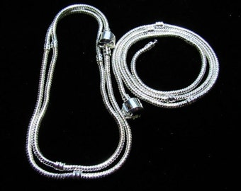 """2 Silvertone European Style Necklaces with Snap Clasp 19.5"""" (B112j)"""