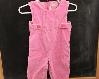 Vintage, pink, corduroy, coveralls, 9 month