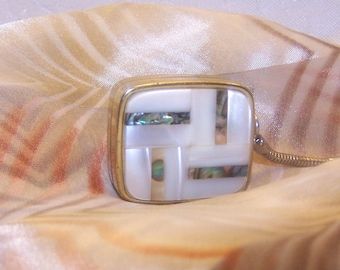 Vintage Clover  Sankyo Miniature Music Box Key Chain Mother of Pearl Giftable