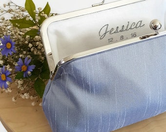 Embroidered Name // Bridesmaid Clutch, Bridesmaid Purse, Evening Purse, Special Occasion, Kisslock Frame, Monogram