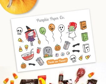P333 - Halloween planner stickers, Witch stickers, Ghost, pumpkin, frankenstein, planner stickers,29 stickers, LARGE Terras, PPC201