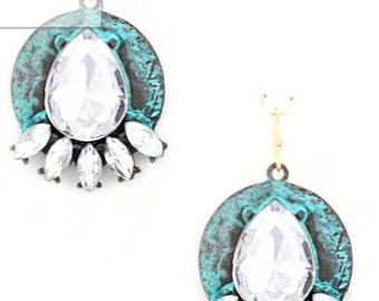Patina and Rhinestone Dangle Earrings